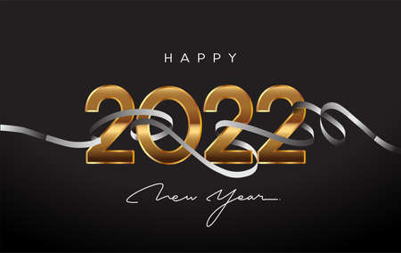 New Year 2022 - Greeting Card with Ribbon and Elegant Text with Light. Minimalistic Template.