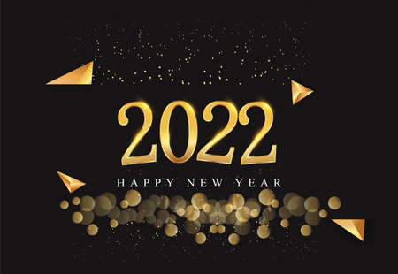 Happy New Year 2022 with glitter isolated on black background, text design gold colored, vector elements for calendar and greeting card.