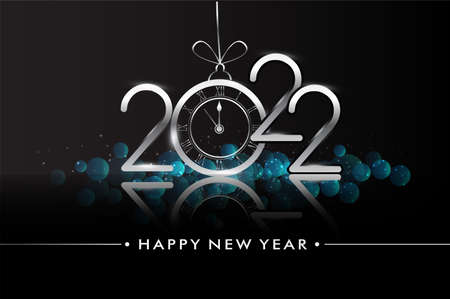 Happy New Year 2022 - New Year Shining background with clock and glitter. Illustration
