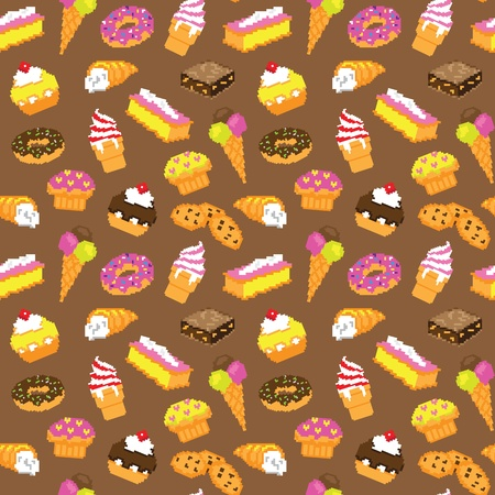 Pastry cake seamless pattern Illustration