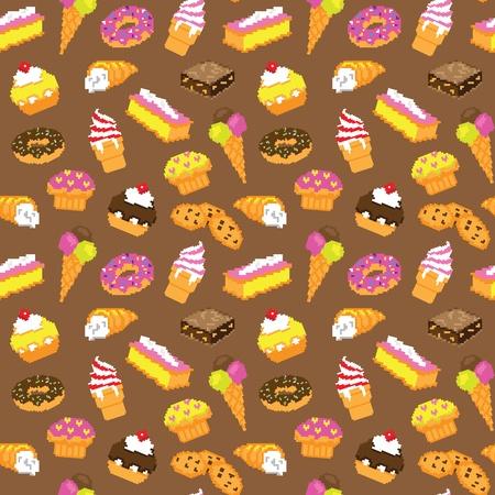 flan: Pastry cake seamless pattern Illustration