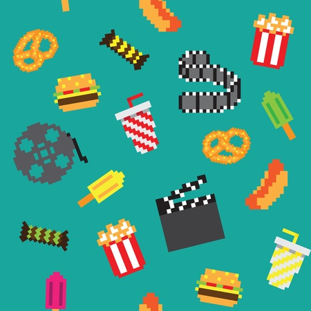 retro pixel game movie seamless pattern Vector