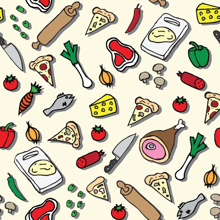 Pizza seamless pattern Illustration