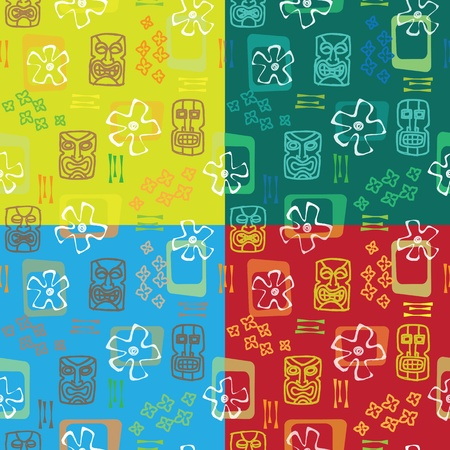 Tiki seamless pattern x4  Vector