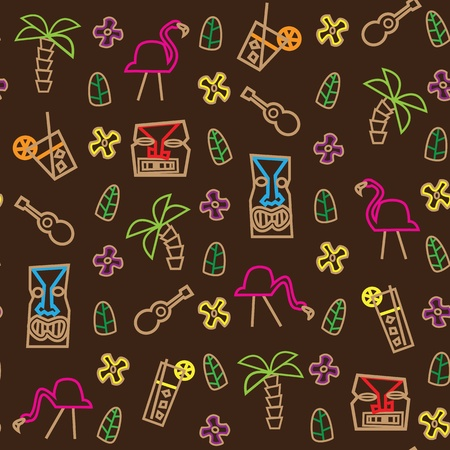 Tiki Hawaii seamless pattern Vector