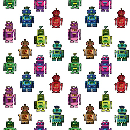 Robots seamless pattern Stock Vector - 13551249