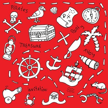 ahoy: pirate invitation vector Illustration