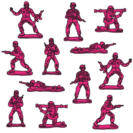 Pink toy soldiers seamless pattern