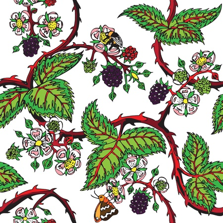 bramble tattoo seamless pattern Stock Vector - 13551251