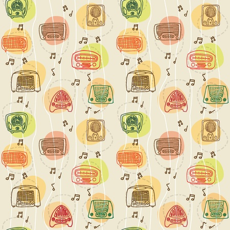 vintage radios 1950s seamless pattern Illustration