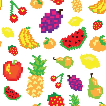 pixel fruit seamless pattern Illustration