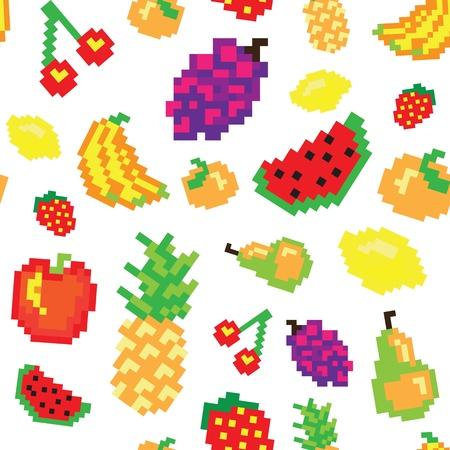 healty food: pixel fruit seamless pattern Illustration