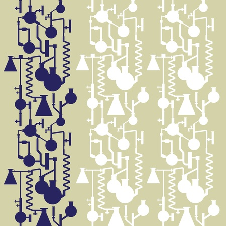scientific: Science lab banner seamless pattern