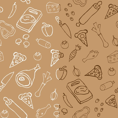 pepperoni: Pizza seamless pattern x2 Illustration