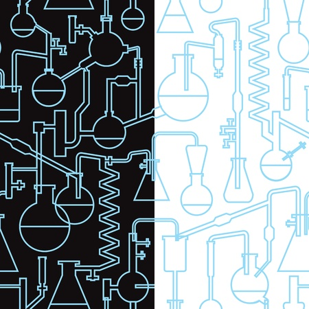 science lab seamless pattern x2 Vector