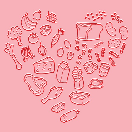 Healthy heart food vector Vector