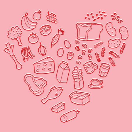 Healthy heart food vector Stock Vector - 13551279