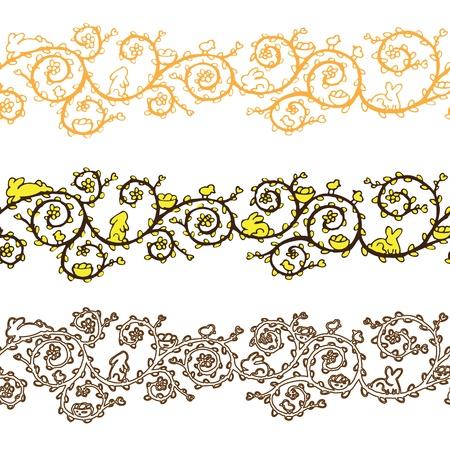 Easter banner seamless pattern vector