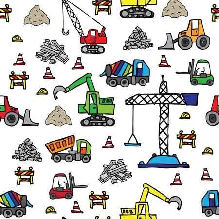 under construction sign with man: Construction site seamless pattern Illustration