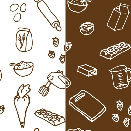 Cake ingredients seamless pattern x2 Vector