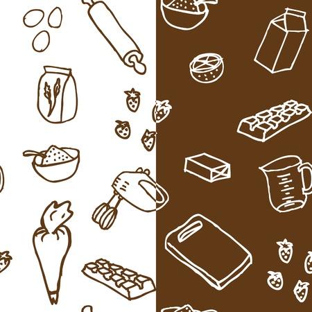 Les ingrédients du gâteau seamless pattern x2