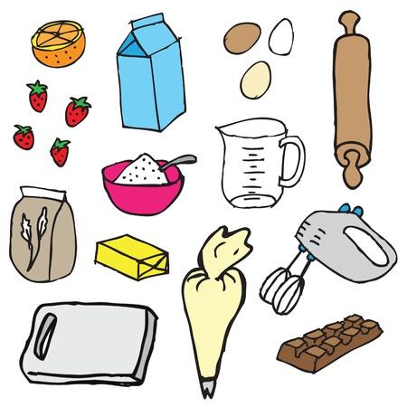 pan con mantequilla: Torta de vector de los ingredientes