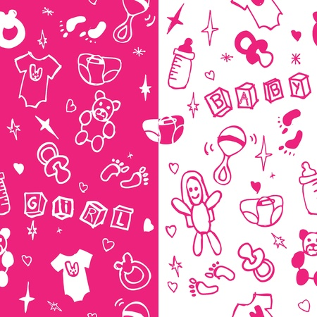 Baby girl seamless pattern Illustration