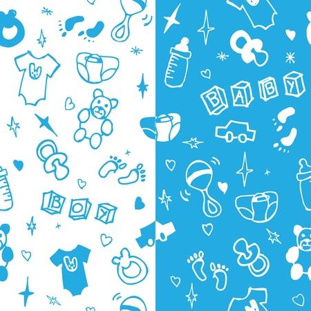 bimbo pannolino: Baby boy modello seamless Vettoriali
