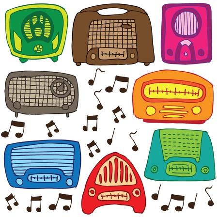 grabadora: Vintage 50s radios vectores