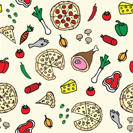 pizza illustration seamless pattern Vector