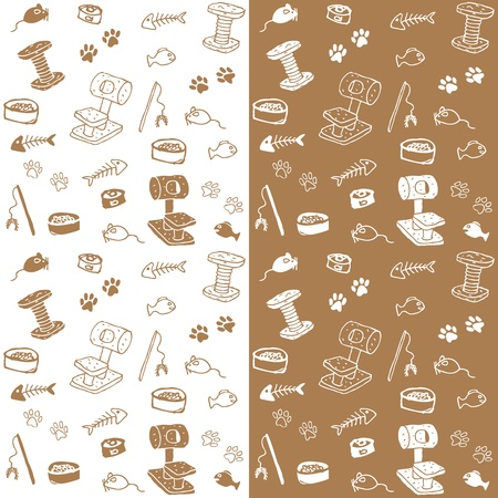 catfood: cat supplies seamless vector Illustration