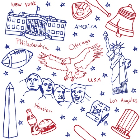 American symbols and icons seamless pattern Editorial