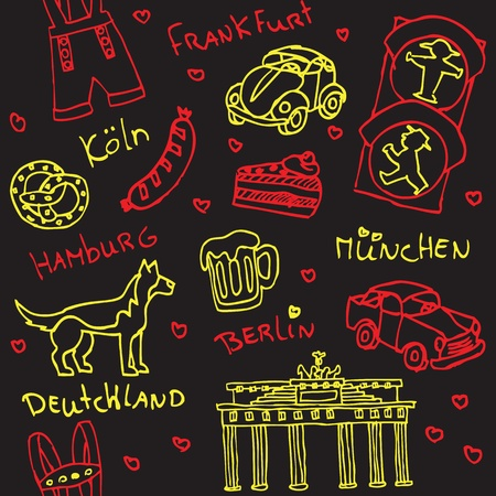 German symbols and icons seamless pattern Illustration