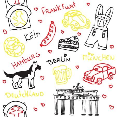 뮌헨: 독일어 기호 및 아이콘 원활한 패턴 일러스트