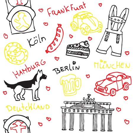 frankfurt: German symbols and icons seamless pattern Illustration