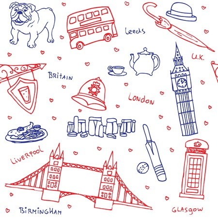 leeds: British symbols and icons seamless pattern