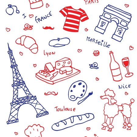 French symbols and icons seamless pattern Illustration