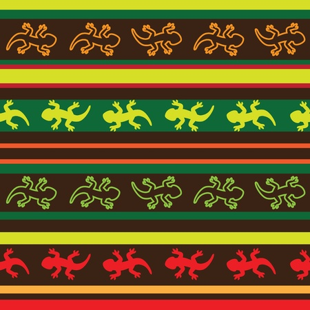 Mexican lizard fabric seamless pattern Vector