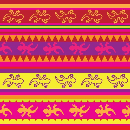 Mexican lizard fabric seamless pattern Vector