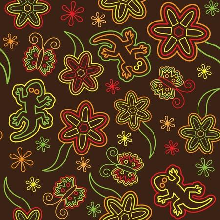salamander: Nahtlose retro Blume Schmetterling Eidechse Muster