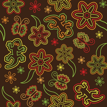 salamander: Seamless retro flower butterfly lizard pattern Illustration