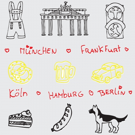 berlin: German symbol icon seamless pattern
