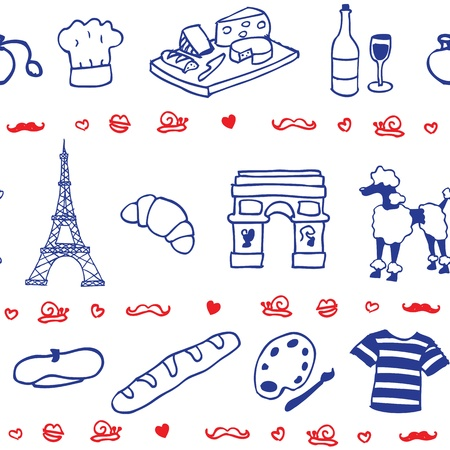 French symbol icon seamless pattern Illustration