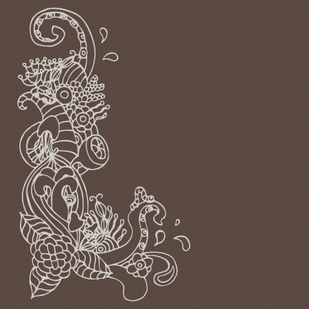 flower ornament doodle corner Vector