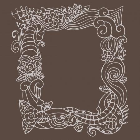 flower doodle frame Stock Vector - 13703917