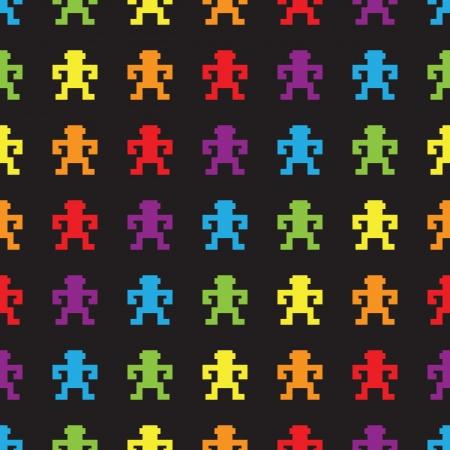 rainbow retro videogame pixel monkeys seamless pattern