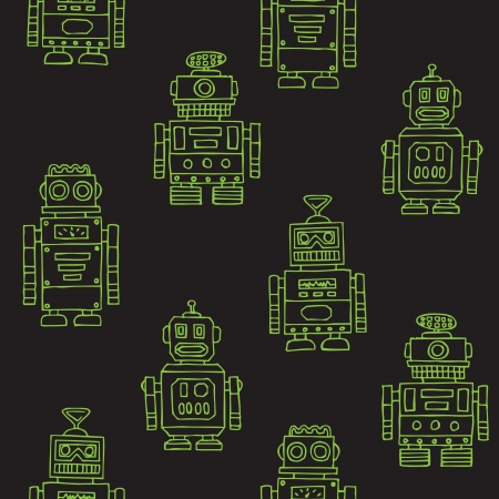 Seamless vintage toy robots pattern Vector