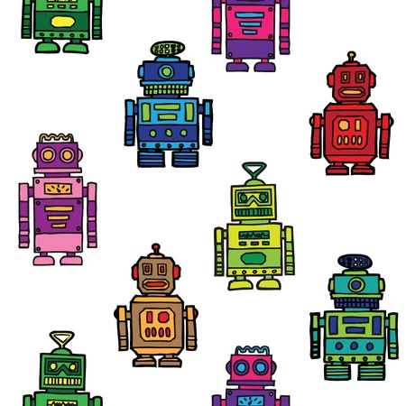 Seamless vintage toy robots pattern