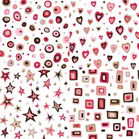 seventies: Seamless retro circles, hearts, stars, squares pattern Illustration
