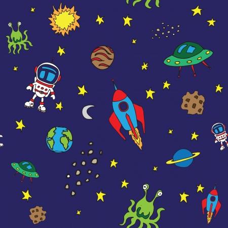 nave espacial: Padr�o de espa�o Seamless Ilustra��o